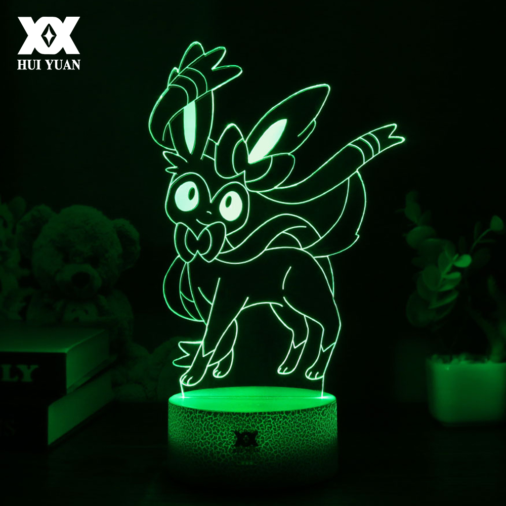 HUI YUAN New Pokemon Sylveon Cute Cartoon 3D Lamp LED Cool 7Color Night Light Children Sleep USB Table Lamp Surprise Gift HY1251