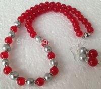 Palavra Amor Moda feminina Jóias Charme Conjunto de Jóias Genuine Cinza Akoya Pérolas Cultivadas/Red gem Beads colar brincos