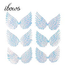 10pcs/bag  95mm Angel Wings Patches Single Side Iridescent Fairy Cupid Wing Appliques For DIY Baby Headwere Accessories