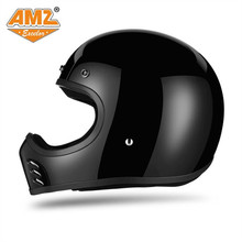 AMZ Harley Racing fiberglass Motorcycle Cruise Retro Vintage Helmet Capacete Motocross Casque Moto helmet