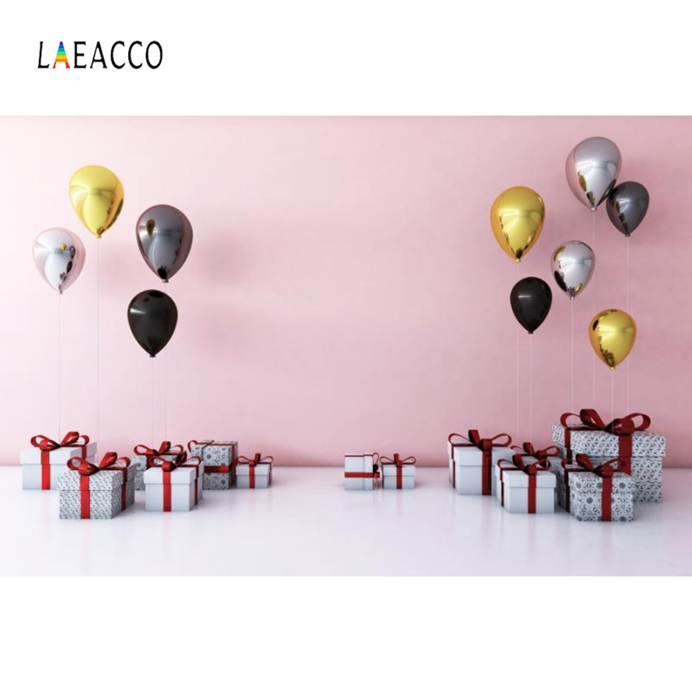 Laeacco Gift Box Colorful Balloons Baby Portrait Photography Backgrounds Customized Photographic Backdrops for Photo Studio