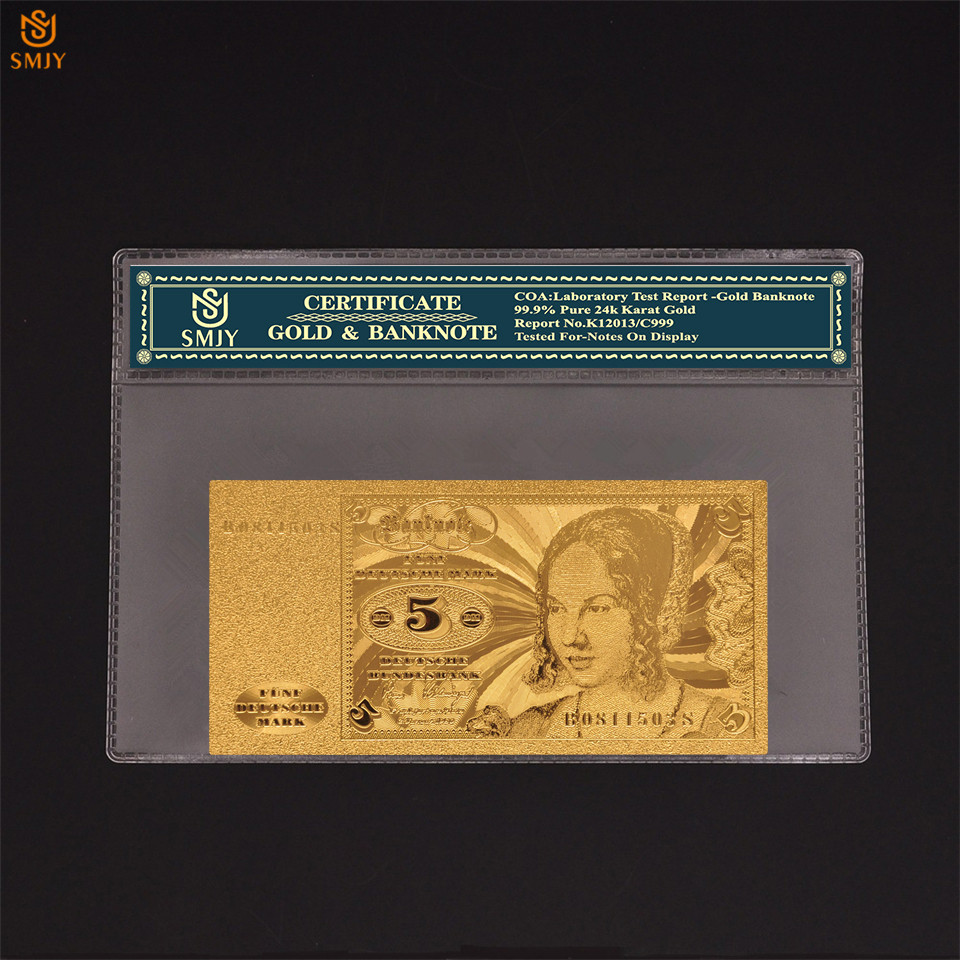 1960 alemão 24k notas de ouro 5 mark copiar notas de dinheiro de papel real coleção com autenticidade certificado