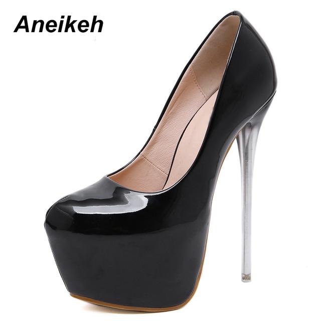 0135f3ebed61 Aneikeh Autumn Sexy Pumps Wedding Women Fetish Shoes Concise Woman Pumps  High Heel Stripper PU Pumps 16 cm Slip On Size 34 - 40
