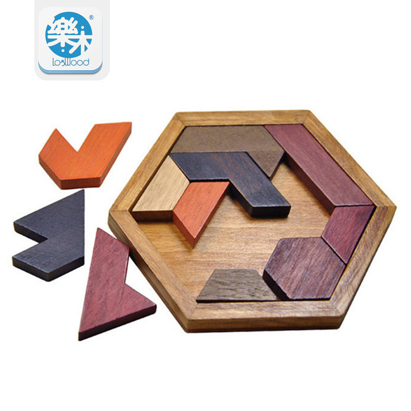 Montessori Wooden hexagon jigsaw puzzle Montessori interests toy stickers gifts for children Educational Toys oyuncak