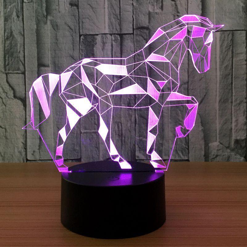 Flash Led Night Animal Horse 3D Led Desk Table Night Light Lamp 7 Colors Kids Gift Home Decor
