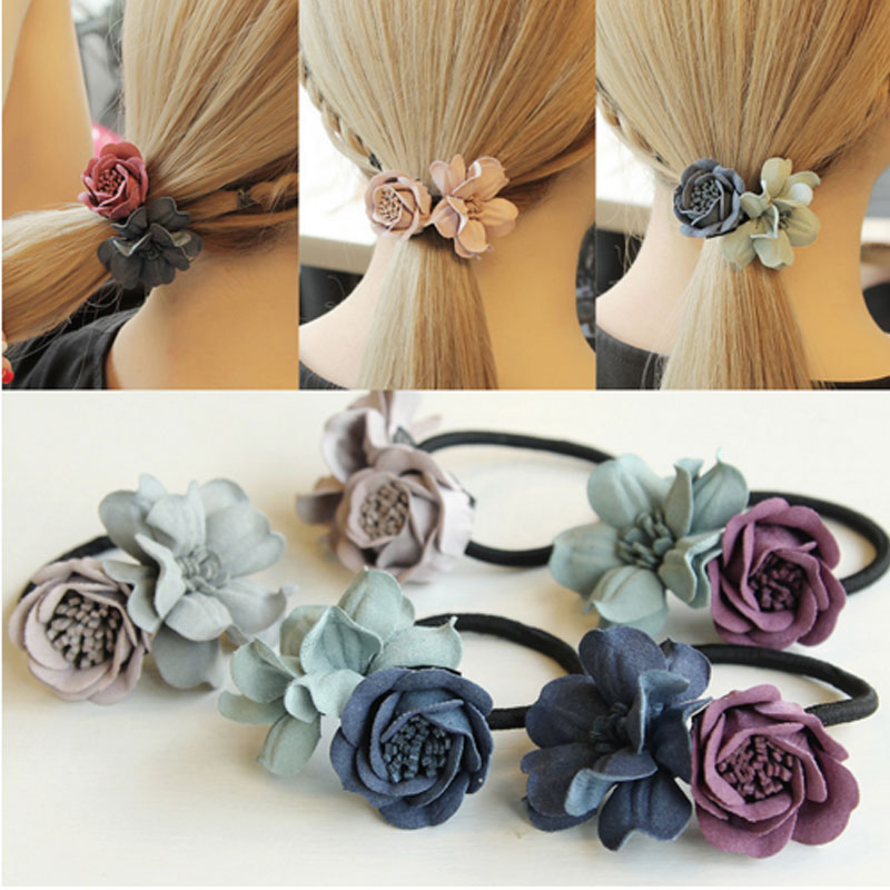 M MISM Girl Double Flower Scrunchy 3D Gum For Hair Elastic Hair Bands For Women Cute Rubber Bands Solid Ponytail Accessories New m mism korean artificial marten ball hair elastic band ponytail holder girl kids scrunchy hair accessories gift gum for hair