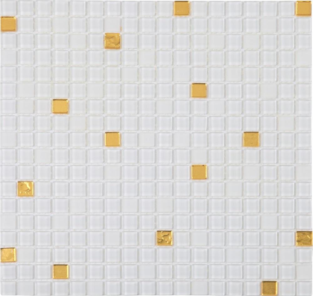 White puzzle parquet mosaic balcony bathroom clear glass mosaic ...