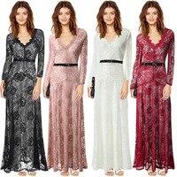 נשים שמלה סלבריטאים חורף 2018 קייט מידלטון קלאסה שרוול ארוך תחרה מלאה Ruched מסיבת ערב מקסי ארוך שמלות לנשים
