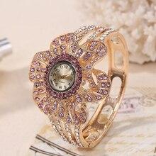 Or Couleur Montre-Bracelet Femmes Fleur Forme Bijoux Bracelet Montres De Luxe Dames En Cristal de Quartz Horloge relogio feminino dourado