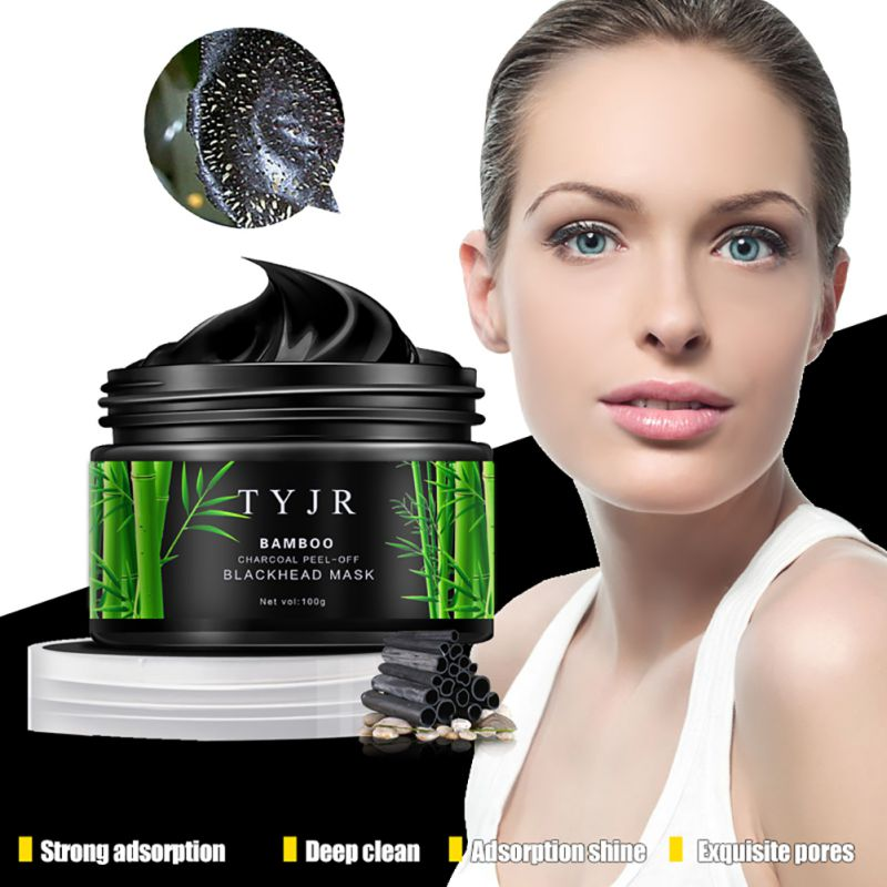 Bamboo Charcoal Acne Mask Oily Skin: 100g Black Face Mask Resist Oily Skin Strawberry Nose Acne