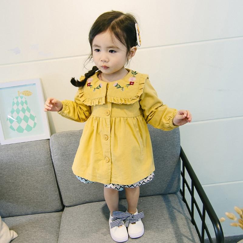 Цветок вышитые Весенние жакеты для пальто для маленьких девочек Детская ветровка для девочек детские куртки и пальто Верхняя одежда для де...
