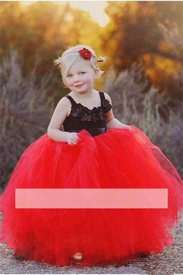 Red Black 2019   Flower     Girl     Dresses   For Weddings Ball Gown Spaghetti Straps Tulle Long First Communion   Dresses   For Little   Girls