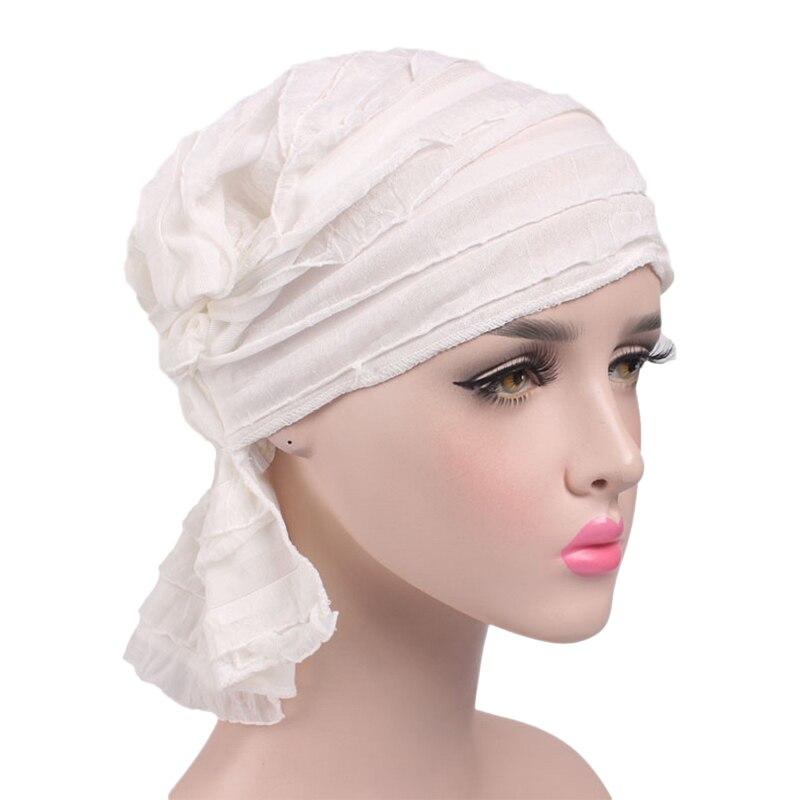 WmcyWell Womens Pack Chemo Cancer Head Scarf Hat Cap Chiffon Ethnic Cloth Print Turban Headwear Womens Ruffle Beanie