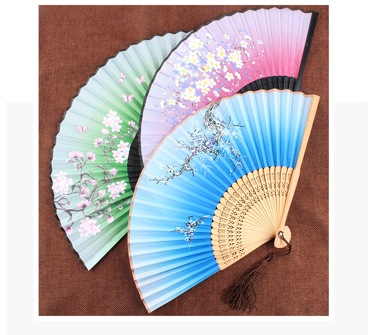 Cherry Blossom Portable Fabric Fan Japanese Silk Bamboo