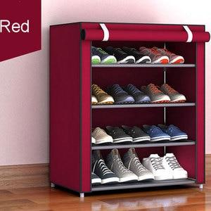 Image 3 - Non woven Fabric Storage Shoe Rack Hallway Cabinet Organizer Holder 4/5/6 Layers Assemble Shoes Shelf DIY Home Furniture