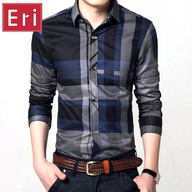 Camisas Xadrez Nova Moda da Cor do Contraste Collar Dos Homens Camisas de Manga Longa Slim Fit Camisas do Desenhador dos homens de Alta Qualidade Roupas X044