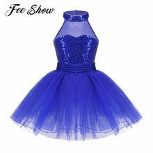 da6aa81530ae FEESHOW Cute Kids Girls Sleeveless Mesh Splice Sequins Ballet Tutu Dress  Girl Dance Gymnastics Leotard Ballerina Princess Dress