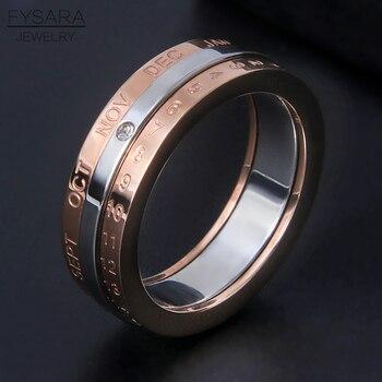 4d7e85b0d64f FYSARA diseño clásico rotación fecha calendario anillo de acero inoxidable  de plata de oro rosa Color de la marca de tres capas anillo de la joyería  de las ...