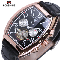 Mens relógios top marca de luxo data de exibição mês subiu caso de ouro forsining relógio montre homme relógio automático dos homens relógio ocasional
