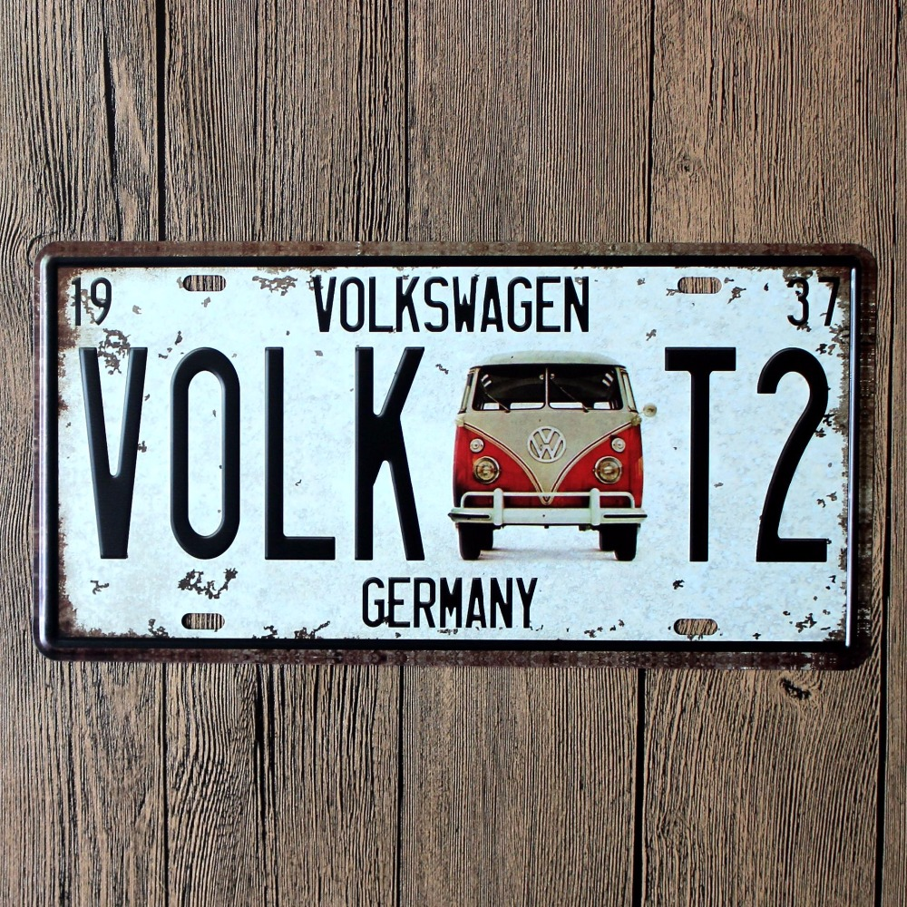 Automotive Signs volkswagen VOLK T2 Bump effect Vintage Tin Sign Bar pub home Wall Decor Retro Metal Art Poster