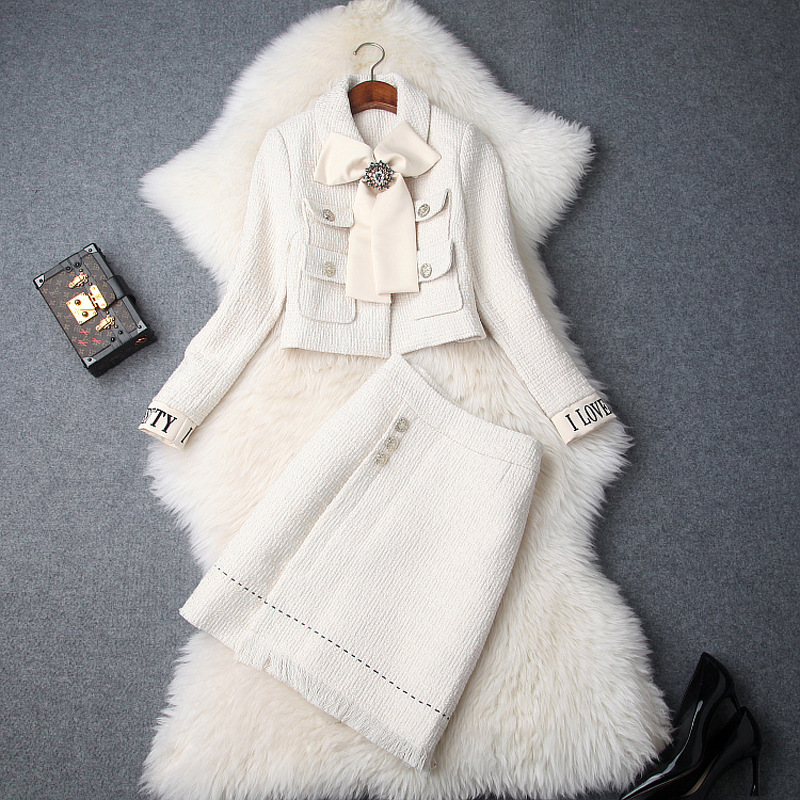 Autumn And Winter 2 Piece Set Women 2018 Ukraine New Lapel Bow Tie Short Jacket Crop
