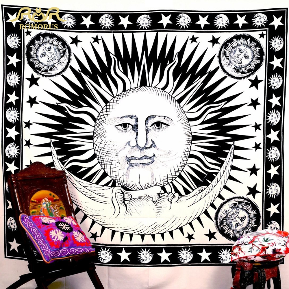 ROMORUS Sun Moon Face Tapestry Creative Bohemian hippie Tapestry - Home Textile - Photo 1