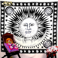ROMORUS Sun Moon Face Tapestry Creative Bohemian hippie Tapestry Woven Decorative Polyester Boho Carpet Wall Hanging Tapestry