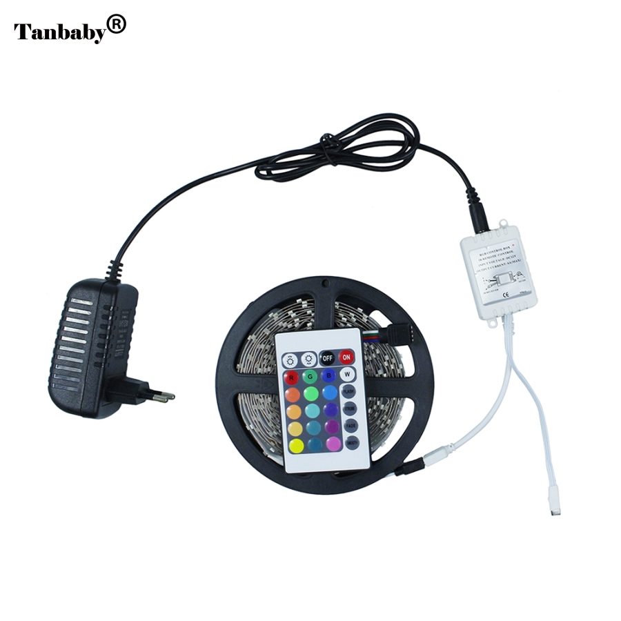 Kitop 5m RGB 3528 LED strip DC12V Led light 300leds not waterproof Light Flexible Ribbon Tape 24 Key controller +power adapter
