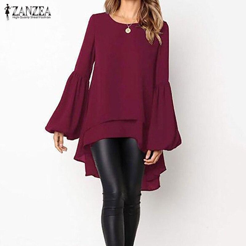 ZANZEA Plus Size Women Blouse Shirt Long Lantern Sleeve Blusa Feminina Solid Irregular Shirt Ladies Casual Loose Blusas Chemise