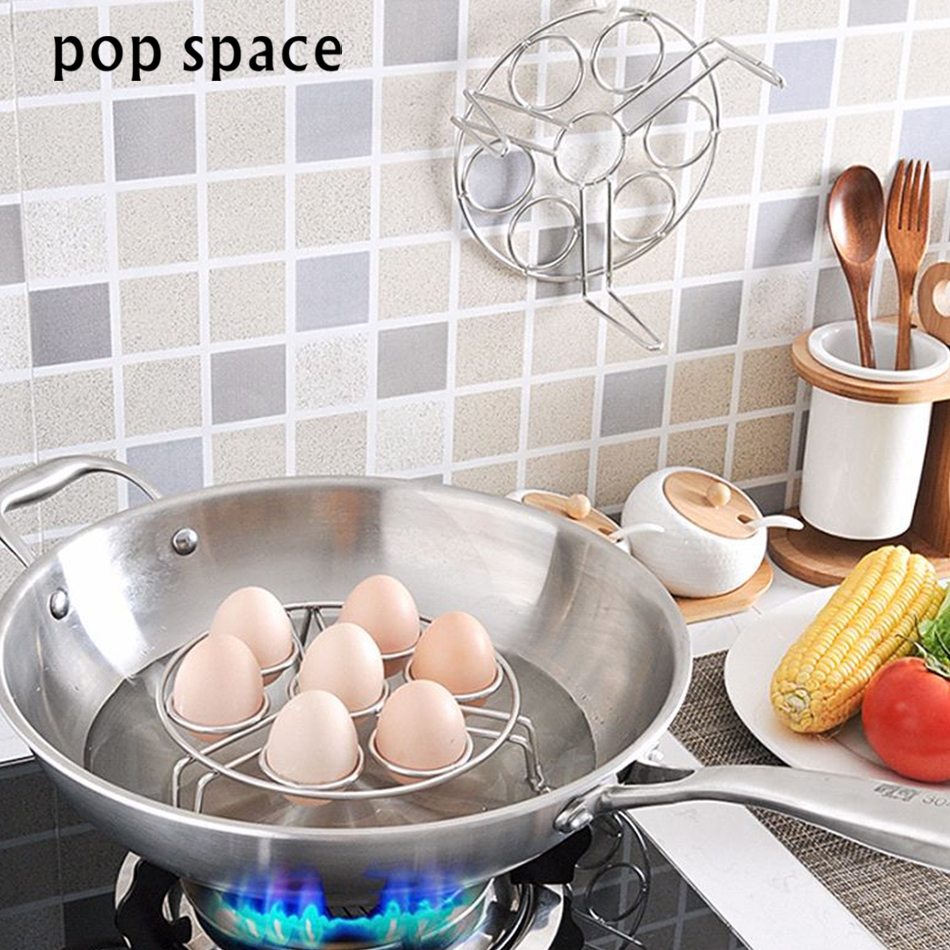 pop space Stainless Steel Egg Steamer Rack Tray Stand Kitchen Accessories New Kitchen Gadget Creative Egg Tools Cooking Steamer