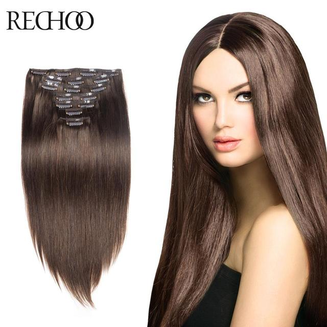 10 Pcs Clip In Remy Human Hair Extensions Full Head 18 Inch