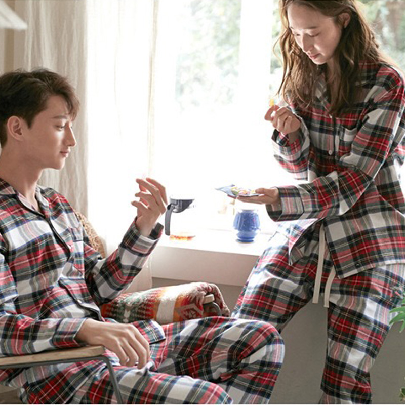 Women's Winter Suits Couple Plaid Pyjama Set Women Pajamas Cotton Long Sleeve Pijamas Ladies Casual Sleepwear Big Size M-XXL
