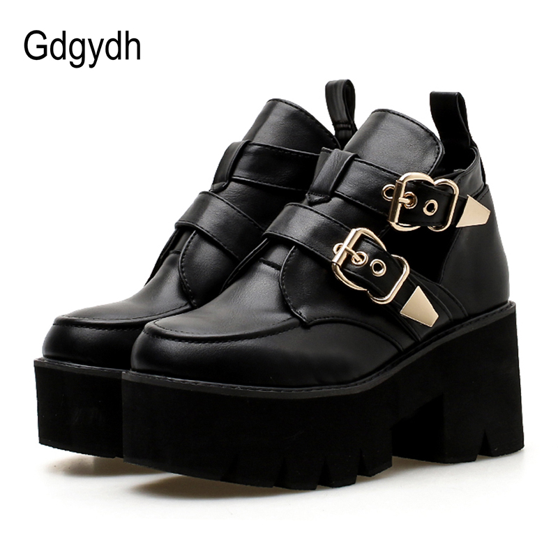 Gdgydh 2020 Spring Autumn Woman Platform Shoes Casual Round Toe Fashion Buckle Comfortable High Heels Basic Pumps Heels Woman