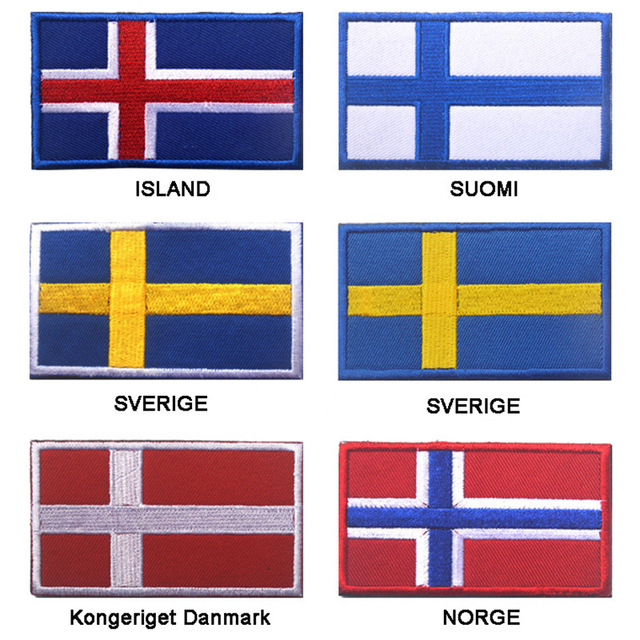 ff59ef8c7095 US $1.79 10% OFF|Embroidered Iceland Finland Sweden Denmark Norway Flag  Patch Army Hook & Loop 3D Tactical Military Fabric Northern Europe Flag-in  ...