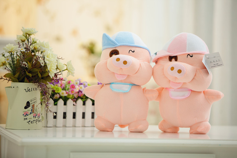 Stuffed animal 35cm pig plush toy McDull pig doll high quality gift present w1334 plush toy happy stuffed pig with a hat
