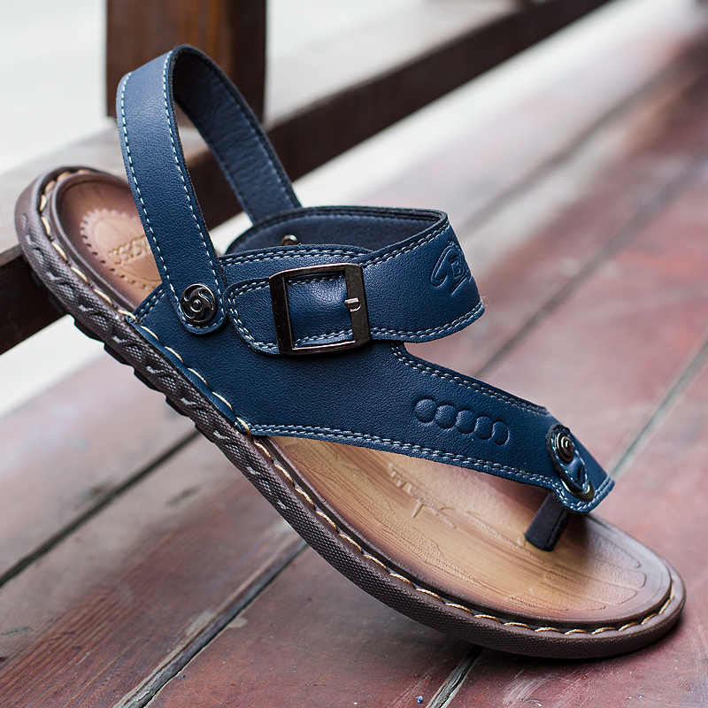 efe4277aa ... sandals mens summer leather leisure shoes luxury italian brand male  shoes adult designer breathable flats slides ...