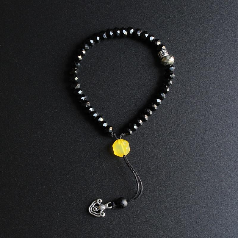 Commercio all'ingrosso Black Stone & White Rame Om Mani Padme Hum Braccialetto di Fascino Donna Uomo Tibetano Buddista Beato Regalo Unico Fatto A Mano