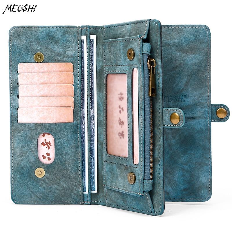 MEGSHI leather detachable case for LG G6 case 2 in 1 leather zipper bag for LG G5 G4 G3 case Credit Card Wallet Case