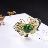 INALIS New Statement Luxurious Finger Ring 925 Sterling Silver Butterfly Shape with Single Emerald Jasper Fine Jewelry for Women