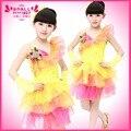 Primavera meninas de verão bonito lantejoulas dança latina vestido crianças vestidos infantis Tutu dança vestido de dança de salão Salsa trajes L077