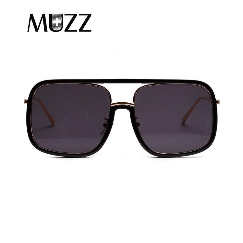 MUZZ 2018 Oversized Square Punk Flat Top Vintage Male Women Sunglasses Men Luxury Brand Retro Steampunk