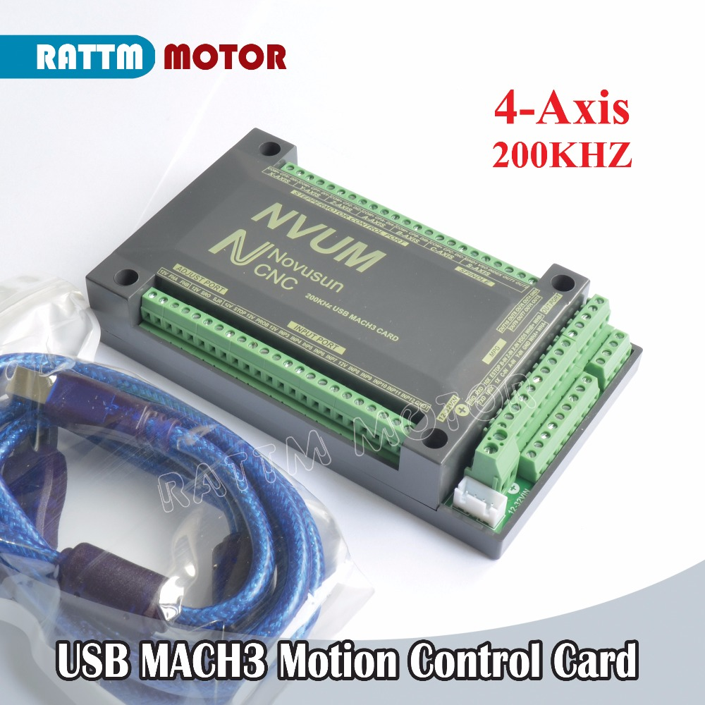 EU Delivery! 4-Axis NVUM CNC Controller 200KHZ MACH3 USB Motion Control Card Slave funct for Stepper Motor Servo motor
