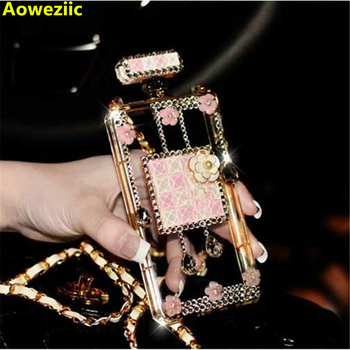 Luxury Perfume Bottle cover For iphone 11 Pro MAX XR 6s 7 8plus XS MAX Diamond gem Flowers Soft Clear TPU phone case with Chain