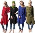Moda Jibab Islâmico Abaya Muçulmano Kaftan Curta Retro Boho Mulheres Fall Manga Comprida Maxi Vestido Solto Camisas Bloues + Cinto
