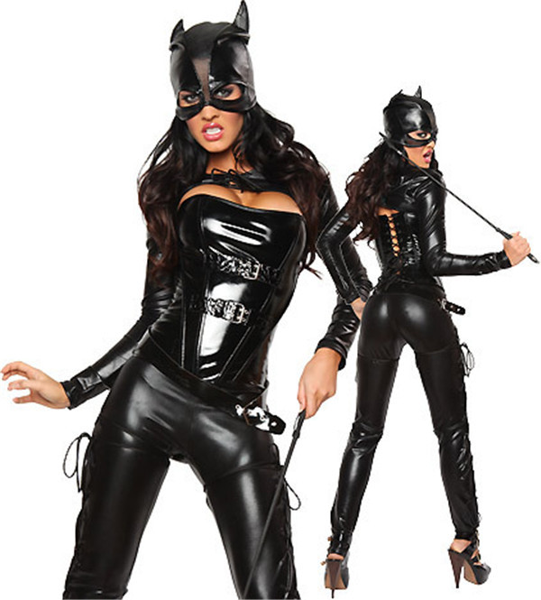 Buy Hot Sale Sexy Costume Faux Leather Black Sexy Catwoman Latex Catsuit Erotic Cat Costume Halloween Cosplay Masquerade Wear Suit