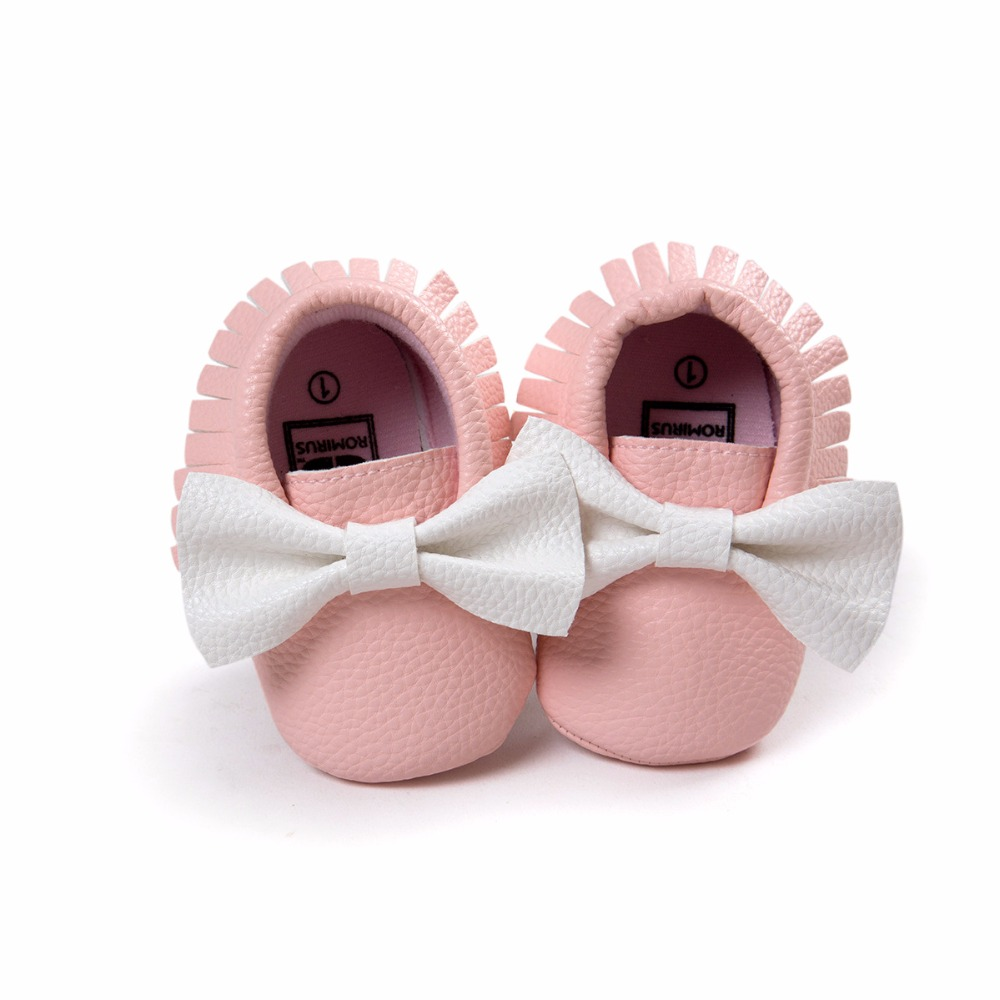 ROMIRUS Soft PU leather Newborn Baby shoes Infant Toddler girls Moccasins cute bow Soft Sole Non-slip Prewalker Shoes