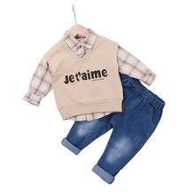 цена на Autumn Baby Boys Clothes Children Letter Vest Lattice Shirt Pants 3pcs/Sets Infant Clothing Kids Gentleman Suit Leisure Costume