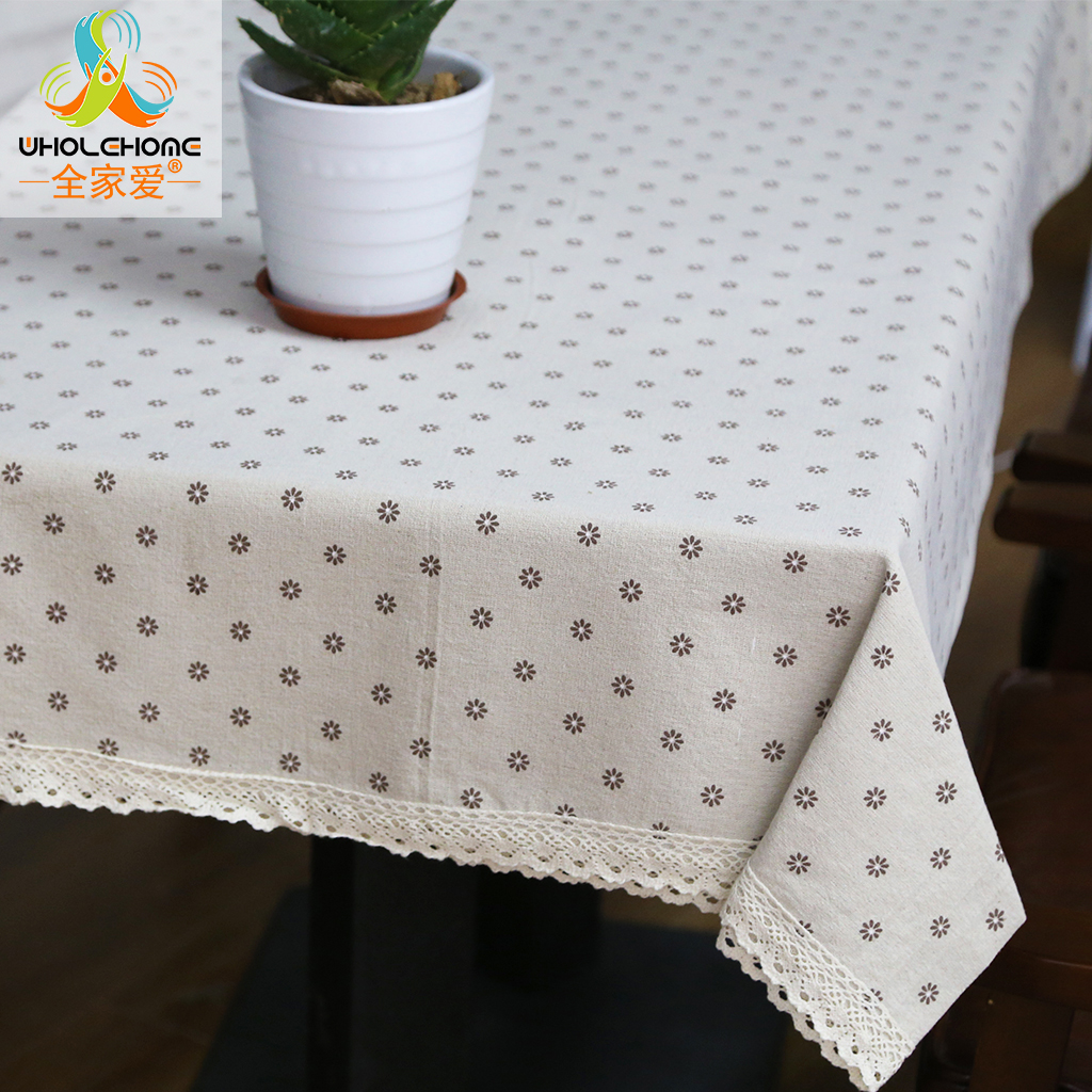 Linen Style Flower Printed Multifunctional Rectangle Table Cover with Lace Edge