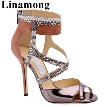 Newest Snakeskin Pattern Mixed Colors Summer Sezy Thin High Heel And Open Toe Cover Heel Rear Zipper Women Sandals Shoes
