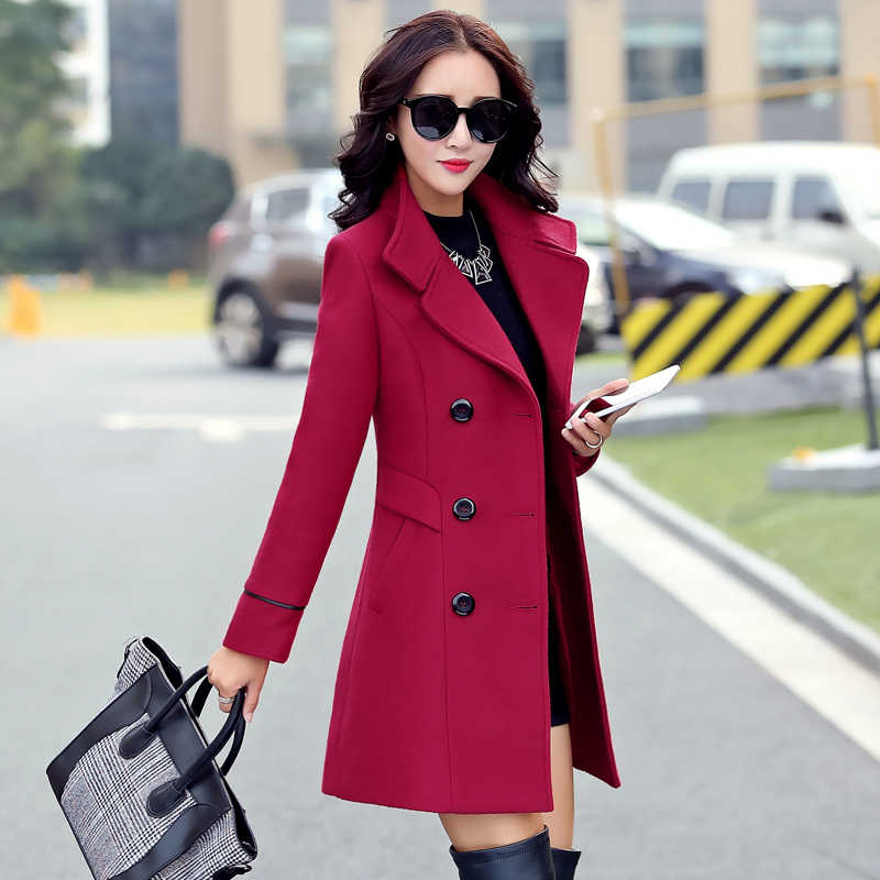 Women's Clothing 2019 Coat Female New Fashion Spring Coats Turn-down Collar Solid Double Breasted Pocket Slim Woolen coats